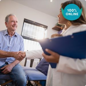 Older man shaking hands with Occupational Therapist